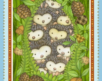 """Baby Brown  Hedgehugs Hedgehogs Cotton Fabric Panel  Henry Glass   By the Panel  23.5""""x43"""""""