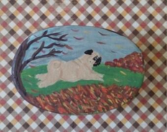 Hand painted PUG Autumn trinket box