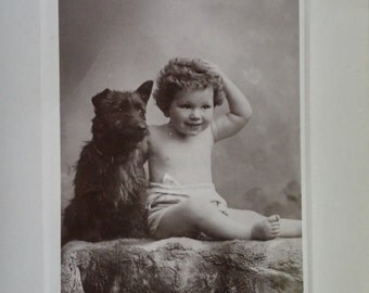 Antique Real photo postcard Scottish Terrier and baby