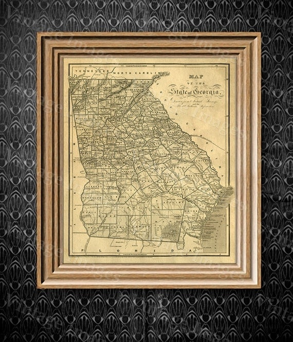 Georgia map Antique map of Georgia Antique Restoration Hardware Style Map of Georgia Large Old Georgia Wall Map Home Decor Office art