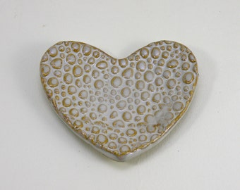 Heart shaped Ring Dish Tea Bag Holder Spoon rest Stoneware foodsafe & lead free glaze