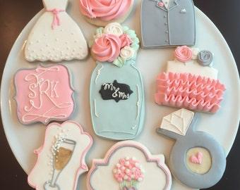 Shabby Chic Wedding Shower Cookies / One Dozen