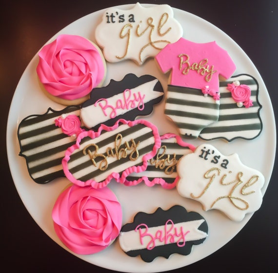 kate spade inspired baby shower cookies one dozen