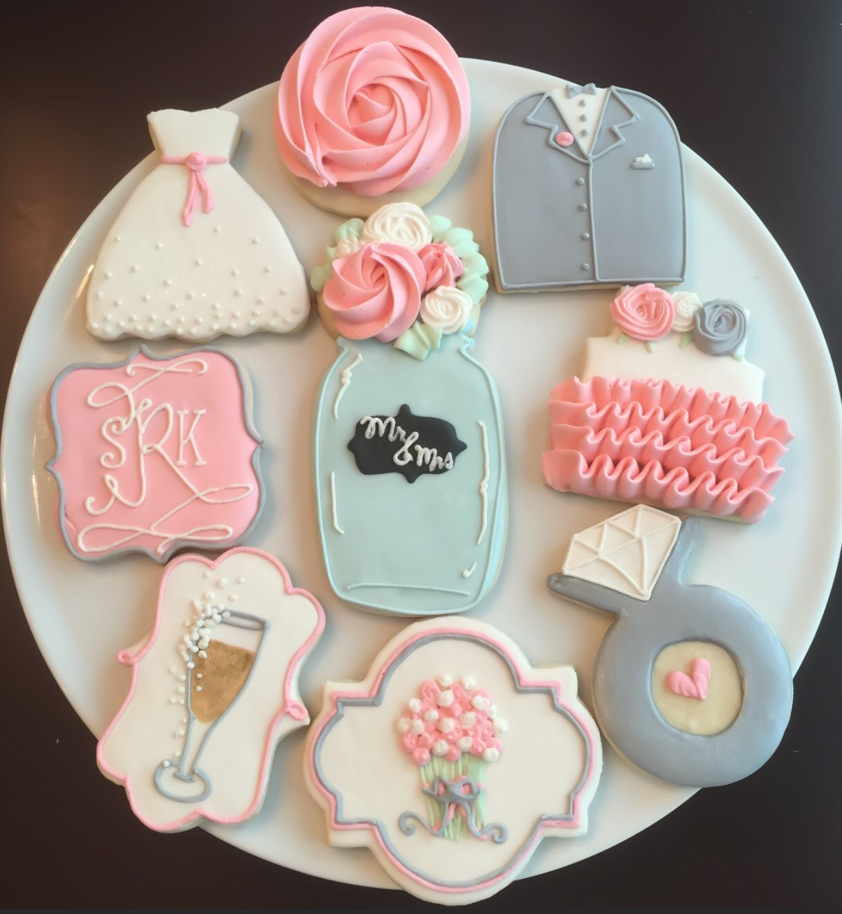 Shabby Chic Wedding Shower Cookies / One Dozen