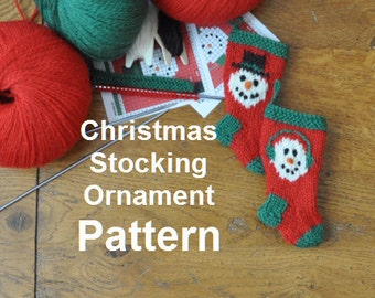 Snowman Pair Christmas Stocking Ornament Knitting Pattern Set of 2 Designs