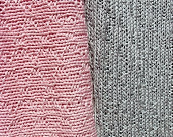 Hand Knit Bamboo Wool Blend Baby Blanket with Diamond Pattern Your Choice of Pale Pink or Blue