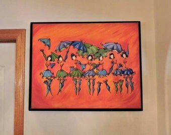 Craft Room, Bathroom, Original, Canvas, Painting, Dressing Room, Laundry Room, Umbrellas, Quirky, Orange, Whimsical, Bath Room, Abstract
