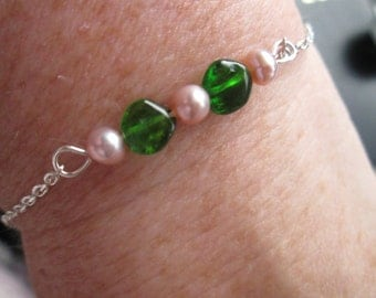 Russian Chrome Diopside & Freshwater cultured Pearl Genuine Gemstone 925 Sterling Silver Chain Bar Stacking Bracelet gift for her Valentines