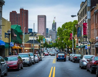 Light Street, in Federal Hill, Baltimore, Maryland. | Photo Print, Stretched Canvas, or Metal Print.