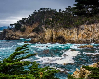 Rocky cliffs above the Pacific Ocean at Point Lobos, in Carmel, California. | Photo Print, Stretched Canvas, or Metal Print.