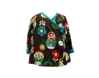 Girls Tunic - Toddler Tunic -  Girls Brown Tunic - Matryoshka Tunic