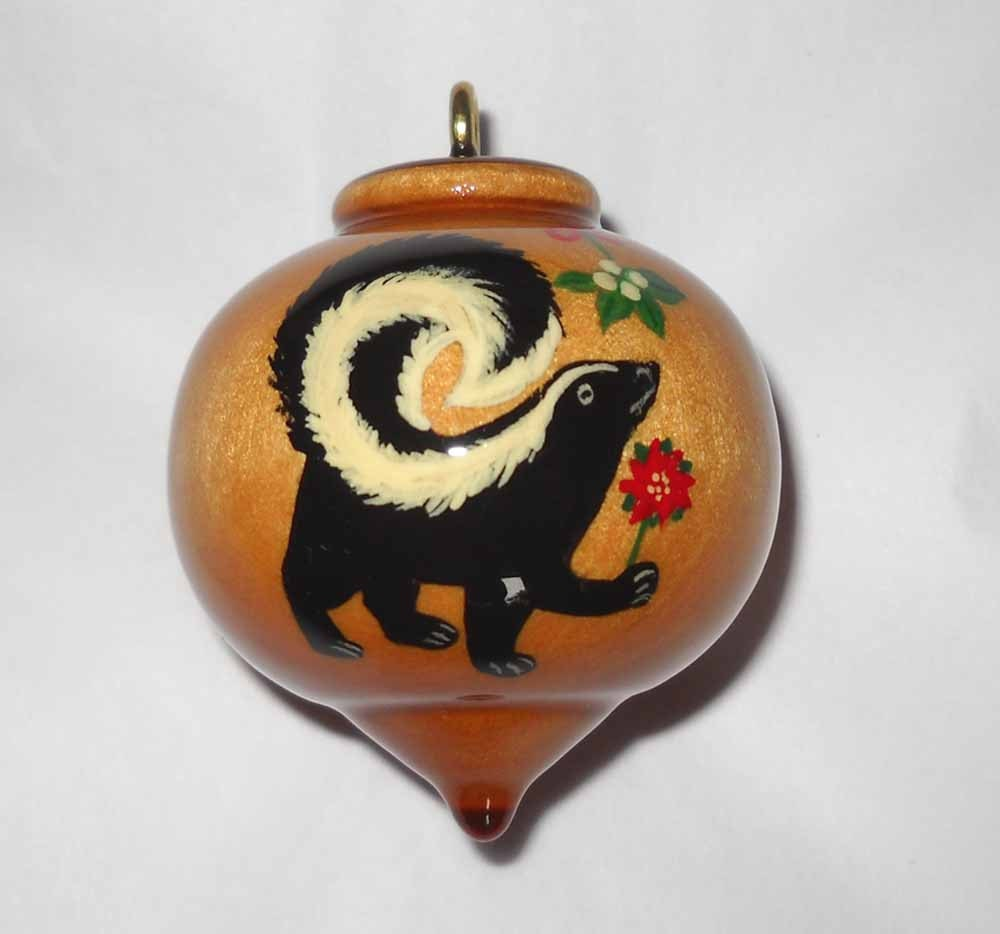 Personalized skunk ornament wooden christmas