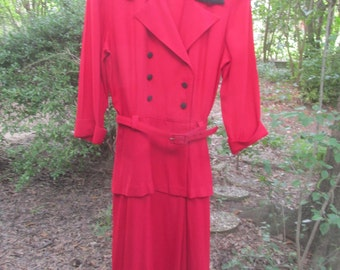 Studio I 80s does 40's red power dress with shoulder pads size 12