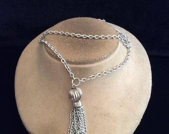 Vintage Long Silvertone Tassle Pendant Necklace