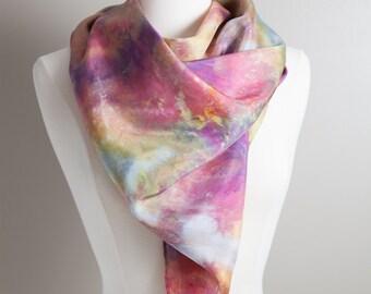 Silk Scarf - Square Scarf - Hand dyed Silk - Silk Head Scarf - Ladies Scarf