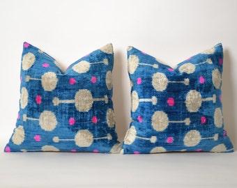 SET of 2 Ikat Pillow Covers - Blue Pink White Silk Velvet Ikat Uzbek Handwoven Bohemian Decorative Throw Pillow Accent Pillow Couch Pillows