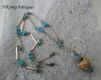 Vintage necklace turquoise glass