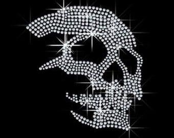 Crystal Skull Rhinestone Iron on Transfer 94EG