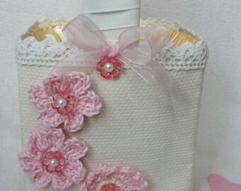 Flower girl basket, wedding bridesmaid basket, Beautiful hand sewn shabby chic basket , victorian basket, confetti basket