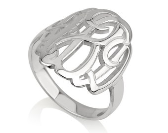 Danity Monogram ring - Personalized name ring - Initial ring - 925 Sterling Silver