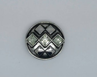 Popper Snap Silver And Diamonds  20 mm Chunk Popper Button