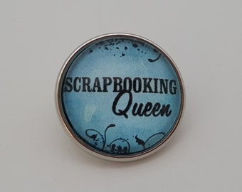 Glass Popper Snap Charm Blue Scrapbooking Queen Snap Jewelry