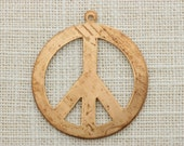 Large Peace Sign Charm   Brass Metal Pendant   Boho Hippy DIY Necklace Component Findings Jewelry 40mm USA #053
