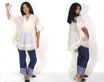 Vintage 70s Sheer Ivory Cotton Mexican Embroidered Caftan Top Tunic Wide Angel Sleeve Hippie