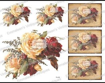 Vintage Shabby Grunge Postcard Label Red White Roses Waterslide Decals~FL430