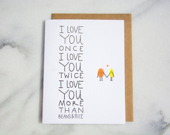 Beans and rice anniversary love poem greeting card