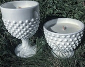 Hobnail Milk Glass Soy Candle Set