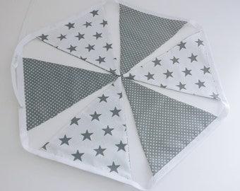 Nursery bunting, decoration, modern grey and white print, stars and dots. Nursery decor, kids room.