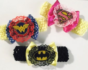 Nerdy Infant Superhero Bows and Lace Headbands