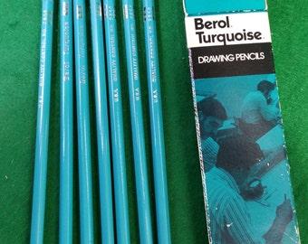 NOS Seven  vintage Berol Turquoise 4 H drawing pencils original box.