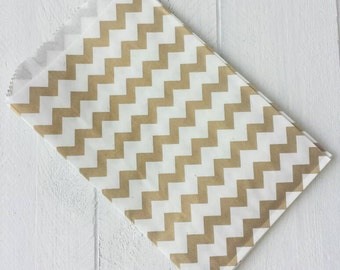 "20 Flat Gold Chevron Paper Bags-5""X7.5"""