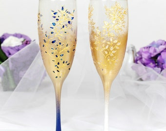 Gold&Royal blue and White Wedding champagne glasses-Hand painted Wedding glass-Floral WeddingFavor-Stained glass toasting flutes-WeddingGift
