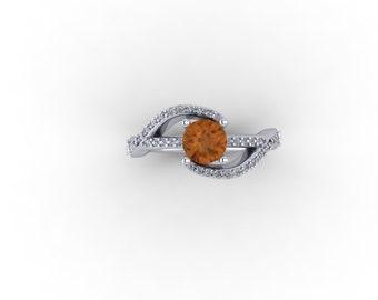 Citrene and diamonds ,engagement ring ,14k  diamonds and citrene ellegant engagement ring , womans best friend