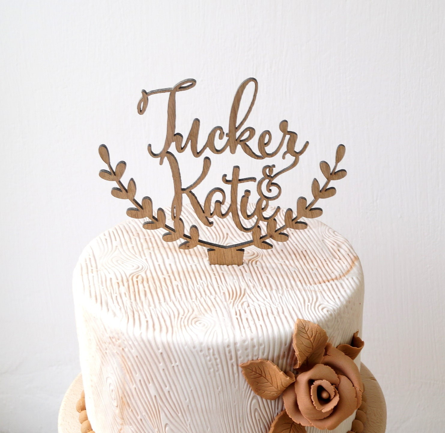Personalized rustic wedding cake topper by CorkCountryCottage