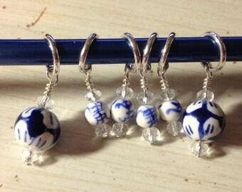 China Blue Knitting Stitch Markers