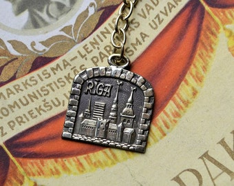 Latvian pendant  RIGA  for key//Latvian  jewelry//Bronze  pendant//Key pendant//Latvian pendant//Key//