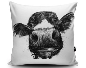 Cow Cushion, Cow Pillow, Farm Animal Cushion, Black White Cow Illustration Bedding, Cow Home Decor, 18x18 inch, 45/60cm Faux Suede Cushion