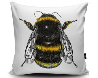 Bumblebee Cushion, Bumble bee, Bee Cushion Cover, Bee Pillow Case, Honey Bee Illustration, Vegan Suede, 45cm/60cm, 18/24inch by Sophie