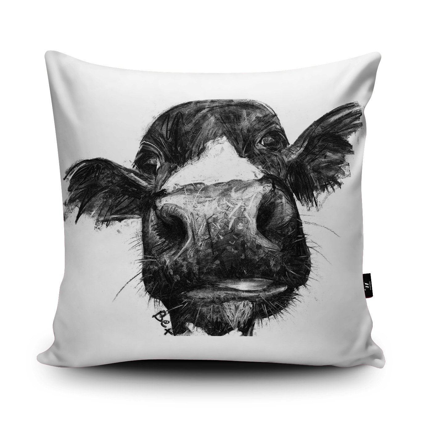 Cow Cushion Cow Pillow Farm Animal Cushion Black White Cow Illustration Bedding