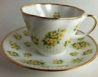 Beautiful English Royal Minster English Bone China Teacup with Delicate Yellow Flowers and Lovely Gold Trim
