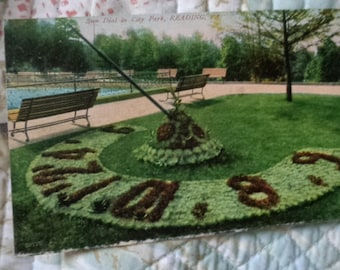 Vintage Original Sun Dial In City Park Reading Pa Postcard Free Shipping