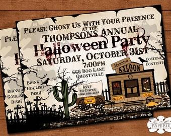 halloween invitation, ghost town invitation, halloween haunted house invitation, haunted house party invite - Digital File - DIY PRINTABLE
