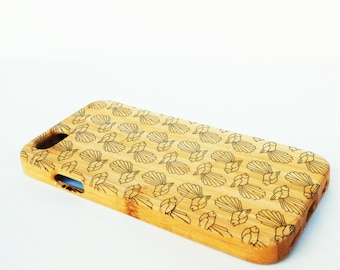 WOODEN PHONE CASE New Zealand Fantail design laser etched bamboo (wooden iPhone 6 case, wooden iPhone 6s case)