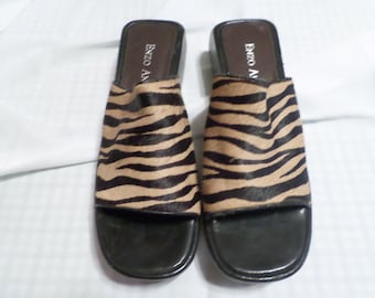 ENZO ANGIOLINI, Vintage Leopard Print Leather Upper Black and Brown Sandals, Size 7 1/2M, Very Lightly Worn!