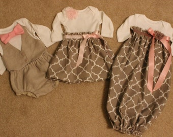 You choose Items,Matching boy girl outfits, Infant gown, Matching twins outfits, matching siblings outfit,Bowtie bodysuit,Baby linen pants,