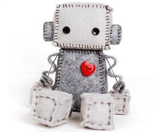 Felt Robot - Nerdy Baby Gift - Geekery Plushie - Robot Doll